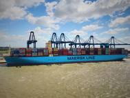 The Madrid Maersk at Felixstowe's Berth 8 photographed by Captain Prithvi Singh, SCS pilot at Harwich Haven Authority, who piloted the Madrid Maersk out of Felixstowe.