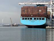 Maersk Edinburgh at Baltimore's Seagirt Marine Terminal, Ports America, Chesapeake, February 9, 2021.  Photo courtesy of Maryland Port Administration.