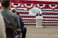Mayor Nicholls speaking during the Yuma (EPF 8) keel laying ceremony Photo Austal