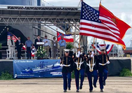 Members of the U.S. Navy Seabees Color Guard present colors at the Q-LNG 4000 naming ceremony at VT Halter Marine (Photo: VT Halter Marine)