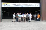 Some of the Metro Ports team in front of the 56,000-sq. ft. shed during the stevedore's grand opening, Port of Indiana-Burns Harbor, July 18, 2017. (Photo: Ports of Indiana)