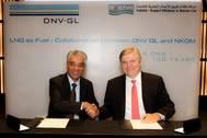 N-KOM's CEO Chandru Rajwani and Dr Henrik O. Madsen, DNV GL's Group President and Chief Executive Officer, signed the memorandum. (Photo: Laurence Tissot)
