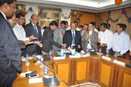 ( L- R) N.N.Kumar, Chairman, JNPT, announces  the operational results (center). Also seen are A.K.Bose, Chief Manager(traffic), Neeraj Bansal, Dy. Chairman, S.K.Kaul, Chief Manager(Admn.)& Secy.