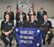 2017 officers of the International Ship Masters' Association: (front row, L to R) Grand Secretary-Treasurer Brian Eickel, Grand President Lee Barnhill, Grand 1st Vice President Harold Dusseau, Grand 2nd Vice President Mark Mather; (back row L to R) Grand Chaplain Mary Ann Schallip, Grand Sentinel Scott Reynolds, Grand Warden Caitlin Clyne, Grand Marshal Greg Stamatelakys. (Photo: Paul Jagenow)