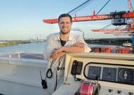 Philipp Wallutis, second officer on board the Osaka Express, is on his way of becoming a captain. (Photo: Hapag-Lloyd)
