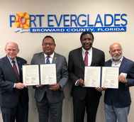Pictured (L to R): Glenn Wiltshire,Acting Chief Executive and Port Director, Port Everglades; Aníbal Piña, Deputy Director, Dominican Republic Port Authority; Broward County Mayor Dale V.C. Holness; and Miguel Angel Rodriguez, Consul General of the Dominican Republic in Miami. (Photo: Port Everglades)