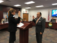 President Herrera sworn in by his wife, Dr. Cynthia Herrera (Photo: Port of Hueneme)