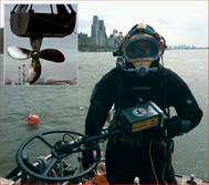 Randive diver with Pulse 8X metal detector, Inset photo: Recovered propeller