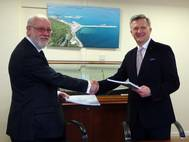 Bill Reeves, CEO of Portland Port, and Slawomir Kalicki, the Group President of Inter Marine (Photo: Intermarine UK)