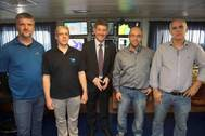 L-R: Kirk Regular, Fisheries & Marine Institute of Memorial University, Tommy Furey, Dr Peter Heffernan, Fabio Sacchetti, Marine Institute, Marcos Miguel Páscoa Parreira Rosa, Instituto Portugues do Mar e da Atmosfera (IPMA). Photo: Marine Institute