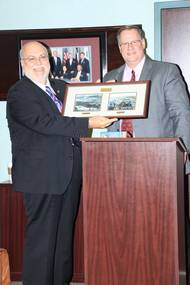 L-R Retiring Director of Corporate Affairs John Roby and Port Director/CEO Chris Fisher at the January Board of Commissioners Meeting (Photo: Port of Beaumont)