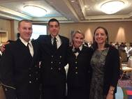 Left to Right: CMA cadets Griffin Sims, Alex Leonard, Bonnie Claire Muchnick and Crowley's Victoria Ellis (Photo: Crowley)