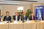 Left to right: RM Kurashiki (ClassNK), T Kinoshita (ClassNK), PM Ravindran (ClassNK) and Dr Thepsithar (NTU). (Photo courtesy of ClassNK)