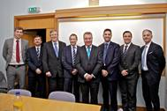 From left to right: Michael Cobb, ExxonMobil; Andrew Scott, Babcock; Ian Lindsay, Babcock; Angus Campbell, BSM; Michael Morrison, Orkney; Gavin Barr, Orkney; Mark Gilks, Calor; and Luca Volta, ExxonMobil (Photo: © Colin Keldie)