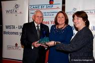 From left to right: William O'Neil, former Secretary-General of the IMO, Angie Redhead, Cruise and Operations Manager of Liverpool Cruise Terminal, and Sue Terpilowski OBE, Managing Director of Image Line Communications and Acting President of WISTA-UK