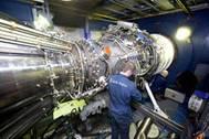 The Rolls-Royce MT30 Marine gas turbine on the test bed (Photo Credit: Rolls-Royce).