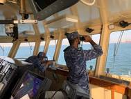 The Royal Bahrain Naval Force coalition ship, RBNS Al Muharraq, operates in the Arabian Gulf during a sentry patrol as part of the International Maritime Security Construct (IMSC). The IMSC maintains the freedom of navigation, international law, and free flow of commerce to support regional stability and security of the maritime commons. (Royal Bahrain Naval Force Courtesy Photo).