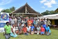 BMT scientist Dr Beth Toki (back, fourth from right) met with government officials and community stakeholders at Barana Village, on the outskirts of Honiara Photo BMT