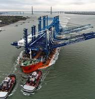 SCPA's new neo-Panamax ship-to-shore cranes transit the Charleston Harbor on their way to the Wando Welch Terminal. (Photo: SCPA)
