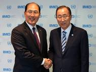 UN Secretary-General Ban Ki-moon (right) met IMO Secretary-General Kitack Lim (Photo: IMO)