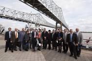 The seven-member delegation of trade ambassadors from Cuba is joined by Port of New Orleans officials and Louisiana trade representatives for a harbor tour of the Port's facilities (Photo: Port of New Orleans)