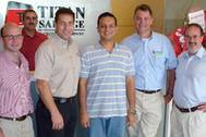 Stephen Wood, Salvage Master; Phil Reed, Director of Salvage & Engineering; Todd Bush, Crowley Sr. VP and ISU's newly elected President; Amit Wahi, - Commercial Manager; Dan Schwall, Managing Director; Mark Hoddinott, Managing Director, Europe. (Photo courtesy Piet Sinke.)