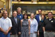 Steve Whitman, Inside Sales; Phil Thomas Metzger, Navy League Philadelphia Council President; Mark Petersen-Overton, VP Operations; Lisa Smith Executive VP; Donna Bloguszewski, Inside Gov't Sales; Diane Piersol, Inside Sales; Congressman Ryan Costello; Doug Horn, Program Manager & NE Technical Sales (Photo: JA Moody)