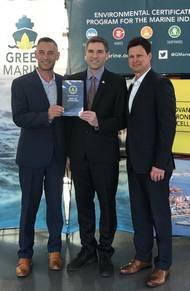 The Port of Stockton receives certification from Green Marine in recognition of its commitment to continuously reducing its environmental footprint. Pictured left to right are: Port of Stockton Environmental & Regulatory Affairs Manager Jason Cashman; Green Marine Executive Director David Bolduc; and Port of Stockton Director of Environmental & Public Affairs Jeff Wingfield. (Photo: Port of Stockton)