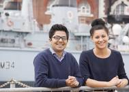 Summer interns Rez Nuru (left) and Alex Rubin (right) working in Portsmouth Naval Base for BAE Systems. (Photo: BAE Systems)