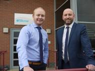Tekmar's CEO James Ritchie (left) welcomes new operations manager Barry Cooper to the subsea cable protection firm. (Photo: Tekmar)