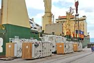 Some of the transformers of the recent record breaking shipment while being loaded onto  mv RICKMERS TOKYO in Rijeka mid-September. Photo: Liburnia Maritime Agency