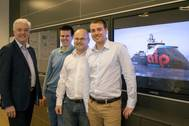 Ulstein Design & Solutions' sales team on the ocean going tug project, from left: Sigurd Viseth, Thomas Brathaug, Ove Dimmen, and Bjørn Harald Norvik (Copyright ULSTEIN)