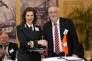 Victoria Marich, Vice-Rector for International Relations of the the Admiral Makarov State University for Sea and Inland Waterway Shipping, and Ingo Egloff, CEO Port of Hamburg Marketing, after signing a partnersship and cooperation agreement between Port of Hamburg Marketing and the Admiral Makarov State University for Sea and Inland Waterway Shipping. (Photo: Port of Hamburgh)