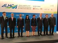 DP World Group Chairman and CEO Sultan Ahmed Bin Sulayem with senior Chinese government officials at the Asian Logistics & Maritime Conference in Hong Kong this week. Also pictured are (Fourth from right) Carrie Lam, Chief Secretary for Administration of the Hong Kong SAR government and (fifth from right) Margaret Fong Shun-man, Executive Director of the Hong Kong Trade Development Council (HKTDC)