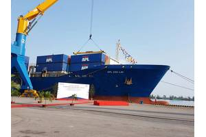 The 1,200-TEU APL Chu Lai, at the Chu Lai Tam Hiep Port Photo by APL