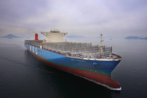 The 20,150 TEU, 400m-long MOL Triumph is scheduled to be delivered March 27. (Photo: Samsung Heavy Industries)
