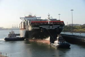 The MSC Caterina became the 3,000th Neopanamax vessel to transit the Panama Canal on March 2, 2018 as it traveled northbound from the Pacific to the Atlantic Ocean Photo courtesy Panama Canal Authority