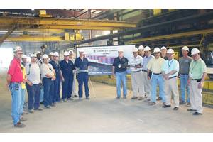 The VT Halter Marine and Crowley teams at Taíno's steel cutting ceremony May 27 in Pascagoula, Miss. (Photo: VT Halter Marine)