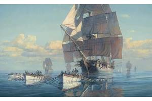 A paintings by Maarten Platje called the Great Chase  tells this amazing story of the US Frigate Constitution being becalmed off the New Jersey coast and becoming engaged in a rowing race to keep out of range of a powerful British Squadron. The Constitution escaped and went on to have her amazing victories that year, but if she had been caught, today we would have never heard of her. Credit Maarten Platje