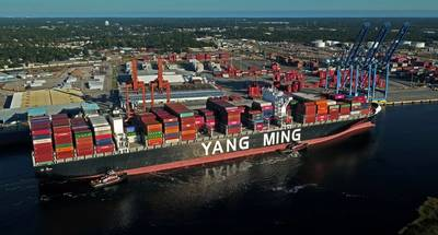 The 14,220-TEU Yang Ming Warranty Docks at the Port of Wilmington (Photo: North Carolina State Ports Authority)