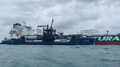 The 150th operation was performed by Korolev Prospect, on time charter to Chevron, receiving 600 tonnes of marine LNG from Shell and delivered by Q-LNG 4000 outside Port Canaveral, Florida. Image courtesy Sovcomflot (SCF Group)
