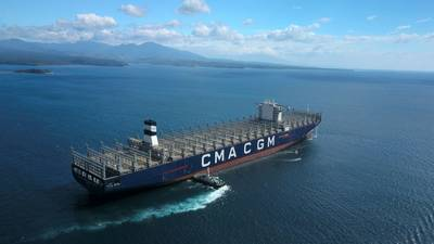 a 20,000 TEU capacity CMA CGM boxship, one of gthe world's largest. CREDIT: CMA CGM