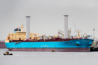 Two 30mx5m Norsepower Rotor Sails onboard the Maersk Pelican. (Photo: Norsepower Oy)