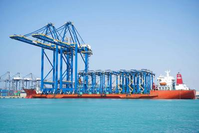 The new 65-ton twin-lift capacity STS cranes can accommodate the latest generation of Ultra-Large Container Ships (ULCS) of 24,000+ TEU capacity, with a 70-meter reach and a 52-meter height. Photo Courtesy: Red Sea Gateway Terminal (RSGT) / ZPMC.