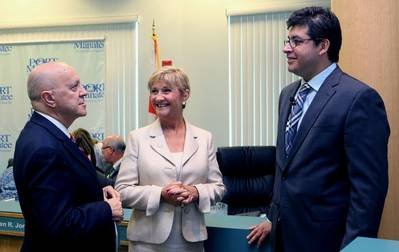Chilean Trade Commissioner Sacha Garafulic, right, chats about trade growth opportunities with, from left, Port Manatee Executive Director Carlos Buqueras and Manatee County Port Authority Chairwoman Vanessa Baugh. (Photo: Port Manatee)