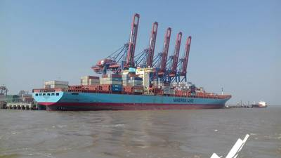 Adrian Maersk port call marks longest vessel to call the Port of Pipavav Photo APM Terminals