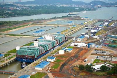 An aerial view of COSCO Shipping Panama in the upper chamber of the Cocoli Locks. Photo by Panama Canal Authority