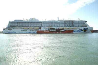 AIDAnova becomes the world's first LNG powered cruise ship to call on the Port of Barcelona and the first to be fueled with LNG in the Mediterranean. Photo: Carnival Corporation