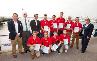 Sir Ben Ainslie, BMF President Fiona Pankhurst and Pendennis apprentices and representatives