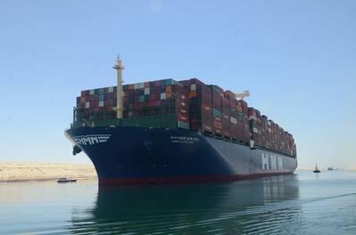 HMM Algeciras sails through the Suez Canal on its maiden voyage (Photo: Suez Canal Authority)